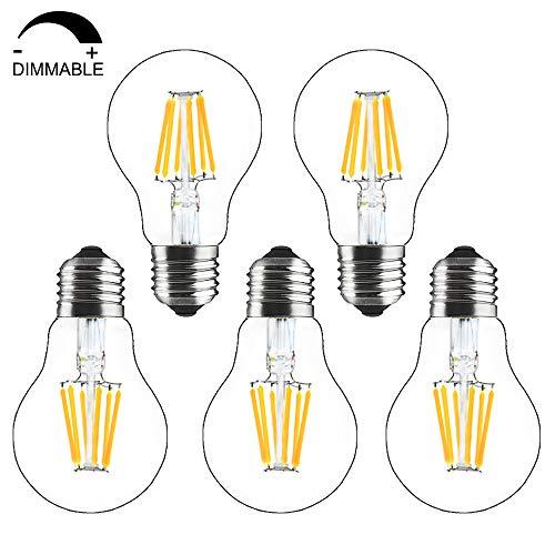 Bonlux lampadine a filamento led e27 dimmerabile 8w, lampadina a60 base a vite edison, equivalente a 60w-80w lampadine alogene/incandescenza e27, bianco caldo 2700k (confezione da 5)