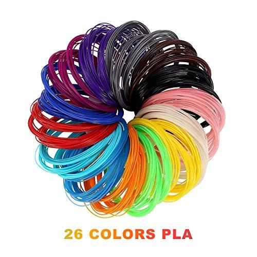 Penna 3D Filamento PLA - VICTORSTAR 26 Colori 160 Metri con  Stampino di Carta ForbiciPlacca di Supporto 1,75 mm 6 Incandescente nell'oscurità Colori Inclusi  Meglio Salute del Bambino