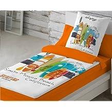 COTTON ART. Saco nórdico CON RELLENO NORDICO SURF para cama 90 x 190/200 + 1 funda de almohada. Saco unido a la bajera con cremallera.
