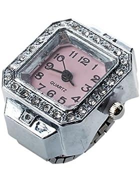 SODIAL(R) 20mm Quadrat Ringuhr Finger-Uhr Fingeruhr Uhrenring Neu TOP