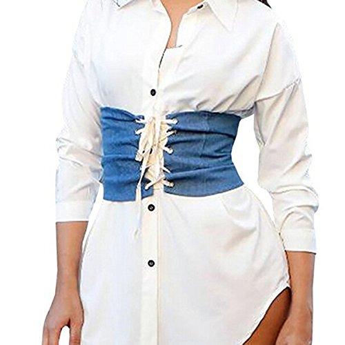 Butterme Damen Slim Wide Taille Korsett Gürtel Cincher Elastische Elastische Lace-Up Reißverschluss Gürtel Wide (Bodysuit Schwanger)