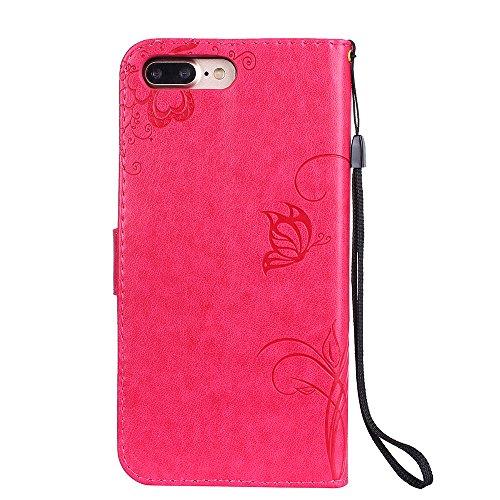 iPhone 7 Plus Coque, Voguecase Étui en cuir synthétique chic avec fonction support pratique pour Apple iPhone 7 Plus 5.5 (Fleurs et papillon II-Gris)de Gratuit stylet l'écran aléatoire universelle Fleurs et papillon II-Rose