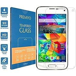 PREMYO Verre Trempé Film Protection Écran Compatible avec Samsung Galaxy S5 Mini Dureté 9H Bords 2,5D Anti-Rayures sans Bulles Résistant