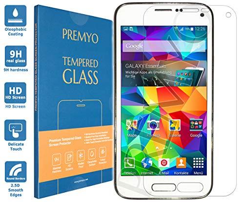 PREMYO Panzerglas Schutzglas Bildschirmschutzfolie Folie kompatibel für Samsung Galaxy S5 Mini Blasenfrei HD-Klar 9H Gegen Kratzer Fingerabdrücke