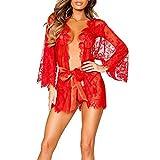 ZHOUBA -  Coordinato Pigiama e Vestaglia  - Donna rosso Red