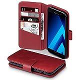 Terrapin, Kompatibel mit Samsung Galaxy A5 2017 Hülle, Premium ECHT Leder Flip Handyhülle Samsung Galaxy A5 2017 Tasche Schutzhülle - Rot EINWEG