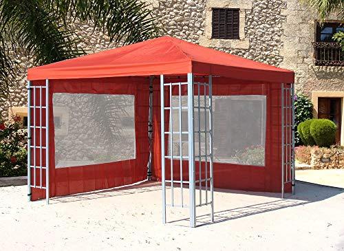 Quick-Star Rank Pavillon Set 3x3m Metall Garten Partyzelt Terra mit 2 Seitenteilen mit Fenster