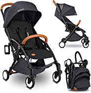 Lionelo Julie Black Stroller For 0M To 36M Eco-Skin, Extended Canopy For Better Comfort with Mosquito Net, Leg