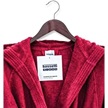 Giosal - Albornoz Bassetti de Rizo Rojo Liso, Unisex, para Hombre y Mujer Rojo