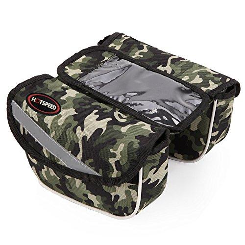 FAN4ZAME Mountain Bike Bag Vorderer Träger Tasche Handy Touchscreen Camouflage Cross Bar Zwei Seitlichen Oberen Rohr Beutel Army green