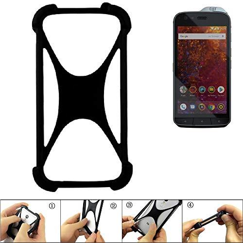 K-S-Trade Handyhülle Caterpillar Cat S61 Silikon Schutz Hülle Cover Case Bumper Silikoncase TPU Softcase Schutzhülle Smartphone Stoßschutz, schwarz (1x)