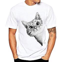 WOCACHI Herren Sommer T-Shirts Mode Männer Kurzarm O-Neck Katze bedruckte Baumwolle Weiß Slim Fit T-Shirt Bluse (EU:XS (Asian:M), Weiß)