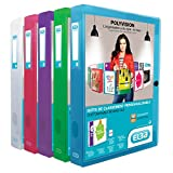 ELBA 100200136 Kunststoff-Sammelbox polyvision 8er Pack 4 cm breit DIN A4 blau grün lila rot transparent Drucknopf-Verschluss Sammel-Mappe Heftbox Heft-Sammler Dokumenten-Box ideal für Büro Schule und die mobile Organisation