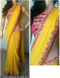 Isha Enterprise Women's Georgette Yellow Hand Work With Thread Work Designer Saree