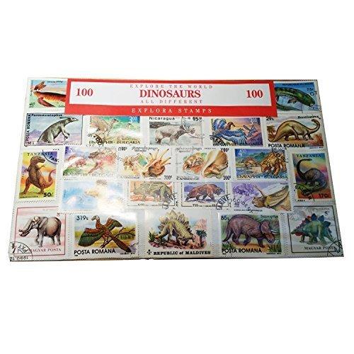EXPLORA Dinosaurier Briefmarken aus der Ganzen Welt, Prehistoric Animals Worldwide Collectable Set von 100 Briefmarken / Souvenir / Speicher / 100 Verschiedene Briefmarken