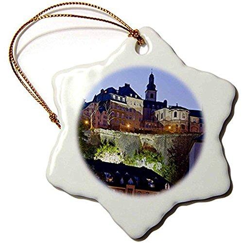 rg, Luxemburg-Stadt Grund, ALZETTE River 40wbi0035Walter Bibikow Schneeflocke Ornament, Porzellan, 3Zoll ()