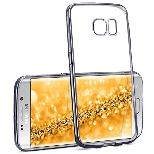 Chrome Case für Samsung Galaxy S6 Edge Plus | Transparente Silikon Hülle mit Metallic Effekt | Dünne Handy Schutz Tasche von OneFlow | Back Cover in Anthrazit