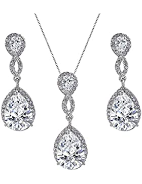 EVER FAITH® CZ Kristall Hochzeit 8-Form Halskette Ohrringe Set klar N02478-1
