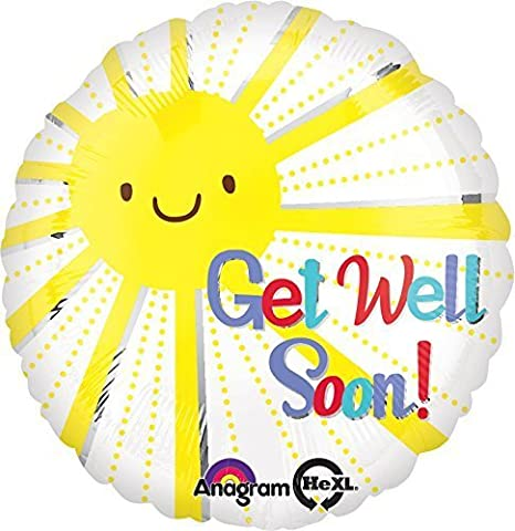 Anagram International Get Well Soon Sunshine Balloon, 18, Multicolor by Anagram International