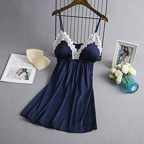 Frauen-reizvolle Spitze-Kimono-Kleid Satin Solide Hochzeit Braut Brautjungfern-Roben Nachtwäsche Elegante Rayon Female Nachtwäsche Pyjamas, Blau-Bügel, M