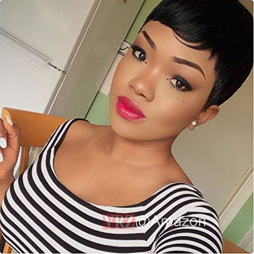 VRZ Echthaar Perücken Pixie Cut Kurz Brasilianer Keine Spitze Perücke Durchschnitts-Kappengröße (African American Haar Kamm)