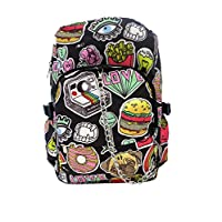 FUNKY BURGER FOOD SWEETIE Pattern Backpack Rucksack | Donut Pug Dog Camera Love | School College Travel Bag
