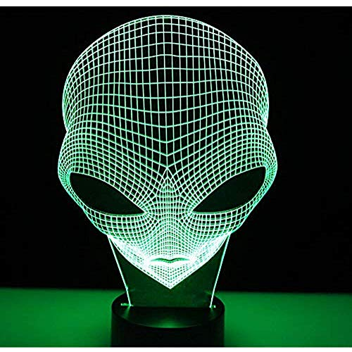 Optischer Kopf (3D LED Nachtlicht andere Planeten Kopf mit 7 Farben Licht Alien F & UUML; R Heimtextilien Lampe Erstaunliche Visualisierung Optisch)