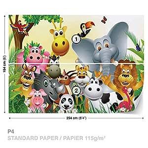 Animale Giungla Animale Elefante Mucca maiale foto carta da parete Immagine di sfondo (693fw), Carta (NO TESSUTO NON TESSUTO), XL - 254cm x 184cm