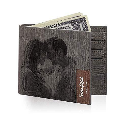 SOUFEEL Personalisiert Foto Geldbörse aus Leder Geldbeutel Portemonnaie mit Gravur 11.5x9.5x0.5 (B x H x T) Ultra leicht ideal Geschenkidee - Klassisches Grau -