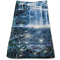 ewtretr Toallas De Mano,Magic Fairy Fantastic Waterfalls at Night Kitchen Towels - Machine Washable