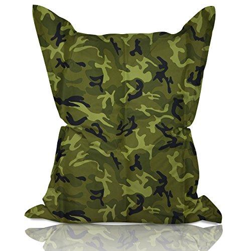 Lumaland Poltrona sacco Pouf Puff XXL 380l Imbottitura innovativa 140 x 180 cm per interni ed esterni verde mimetico