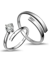 Peora Platinum Plated Silver Trendy Elegant Austrian Crystal Adjustable Couple Ring for Men & Women