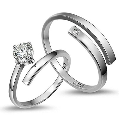 Peora Platinum Plated Silver Trendy Elegant Austrian Crystal Adjustable Couple Ring for...