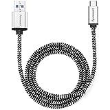 Tenswall Cable USB C a USB 3.1 A de Nylon 1M Gris Cable de Carga y Sincronización para Dispositivos de Tipo C, MacBook, Nexus 6P, Nexus 5X, Nokia N1, OnePlus 2, Chromebook Pixel, etc