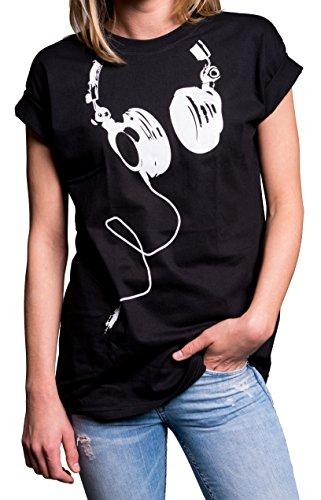 Coole Oberteile Damen - Hipster Oversize Shirt Kurzarm große Größen - Kopfhörer Aufdruck schwarz - Günstige T-shirts Teenager