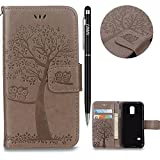 WIWJ Galaxy S5 Mini Handyhülle,Galaxy S5 Mini Hülle, PU Cover Case Leder[Gedrucktes Muster Baum und Eule Handyhülle] Hülle für Samusng Galaxy S5 Mini-Grau