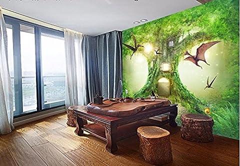 LWCX Benutzerdefinierte Wandgemälde Foto 3D Wallpaper Hd Urwald Dinosaurier Traum Tree House 3D Wandbilder Tapeten Für Wohnzimmer 3D-Wand 150X105CM