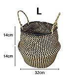 Samber Folk - Cesta de la compra tradicional de tejido a mano con algas naturales para plantas, plegable, hecho a mano, organizador de la colada para muebles de hogar