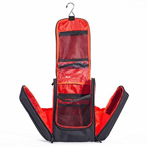 Shaik® Premium Serie UNIVERSAL, Kulturbeutel zum Aufhängen für Unisex, Damen, Herren und Kinder Kulturtasche mit vielen Fächern – große leichte Kosmetiktasche für die Reise (Schwarz-Rot) (Reisen Begleiter Tote)