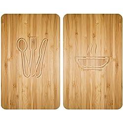 WENKO 2521497100 Protège-plaque universel Lunch - lot de 2, pour tous les types de cuisinières, Verre trempé, 30 x 52 cm, Multicolore