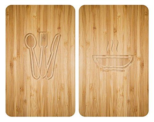 WENKO 2521497100 Herdabdeckplatte Universal Lunch, 2er Set, Kochplattenabdeckung und Schneidebrett für alle Herdarten, Gehärtetes Glas, 30 x 52 cm, Mehrfarbig -