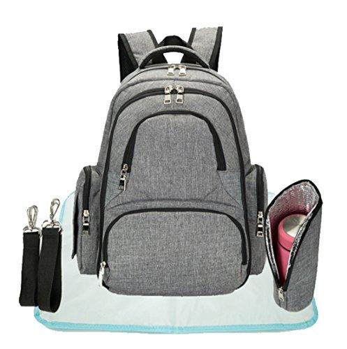 Unisex Wickeltasche Rucksack Baby Wickeltaschen Große Reise Rucksack mit kinderwagenhalter, Wickelunterlage, isolierte Taschen (grau) (Mesh-tasche Seitliche Große)