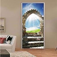 asfrata265 Sunshine Blue Sky Door Stickers Vinyl 3D Stone Stairs Landscape Art Home Decor Mural Self Adhesive Door Diy Decoration Decal 90X200Cm