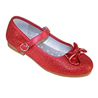 Girls red Sparkly Glitter Ballerina Flat Party Shoes Flower Girl Bridesmaid Special Occasion