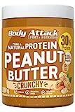 Body Attack Erdnussbutter 30% Protein ohne Zuckerzusatz mit Stückchen Peanut Butter Crunchy 1 kg