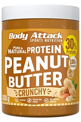 Body Attack Protein Erdnussbutter, Peanut Butter ohne Zucker ohne Zusätze, Erdnussmus ohne Salz, Öl oder Palmfett, natürliche Nussbutter 1000g Crunchy -