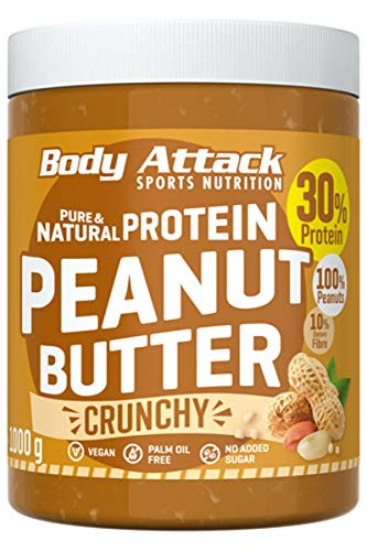 Body Attack Erdnussbutter 30{6af4657642e203b3bb0be3ab8d78e74d8af49051eb25d19bc4dfa4342413680e} Protein ohne Zuckerzusatz mit Stückchen Peanut Butter Crunchy 1 kg