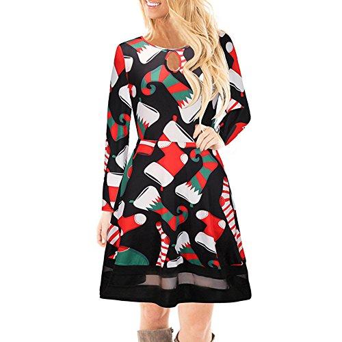 Dorical Damen Weihnachten Outfit Lang Midikleid Schicke Elegant Sexy Schicke weihnachtskleider...