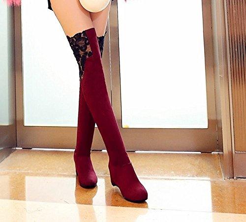 Minetom Damen Herbst Elegant Spitze Dekoration Lange Stiefel Knie Hoch Stiefel Flache Ferse Über Knie Schuhe Rot
