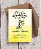 personalisierbar Gin & Tonic Hochzeitstag Einladungen mit Umschlägen (10Stück)